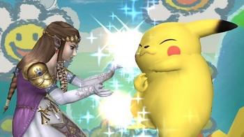 ゼルダの伝説よりゼルダ姫。ぴかつーに魔法をかけてます。